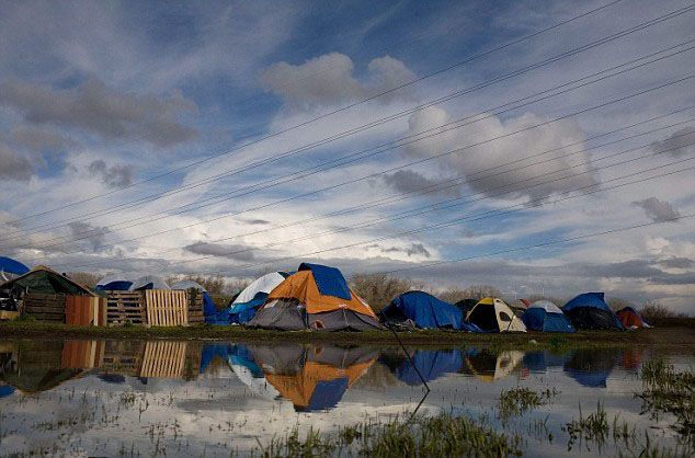 Shanty town: The tent city is already home to dozens of people,